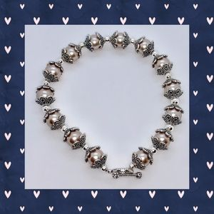 Smoke Pearl and Antique Silver Bead Cap Bracelet